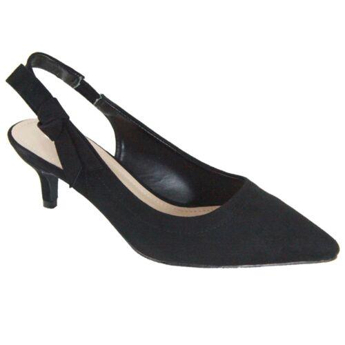 New Women/'s Comfort Patent Low Kitten Heel Slingback Strap Pointy Toe Pump