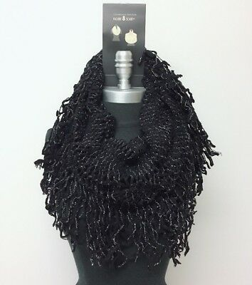 New Women/'s Cowl Single Loop Scarf Knit Crochet w// shiny line Soft Wrap Black