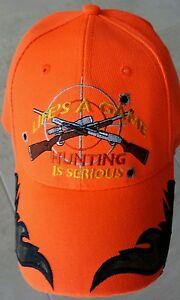 Blaze-Orange-Hunter-Hunting-Cap-Hat-With-Embroidered-Camo-Flames-amp-Guns-amp-Target