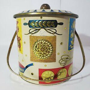 Vintage Homestead Biscuit Barrel Baret Ware Art Grace England Embossed Tin, Gold
