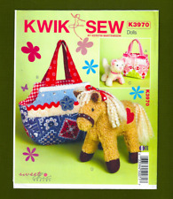 Pets /& Bags Sewing Pattern for Stuffed Horse /& Cat plus 2 Bags~Kwik Sew 3970