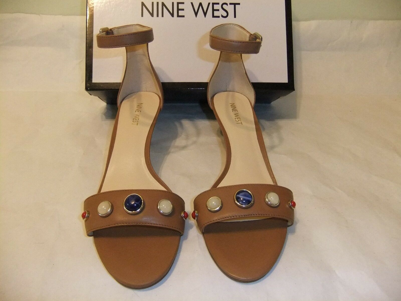 NINE WEST purplec Brown Leather Ankle Strap Sandal Heel Dress Size 8 NIB