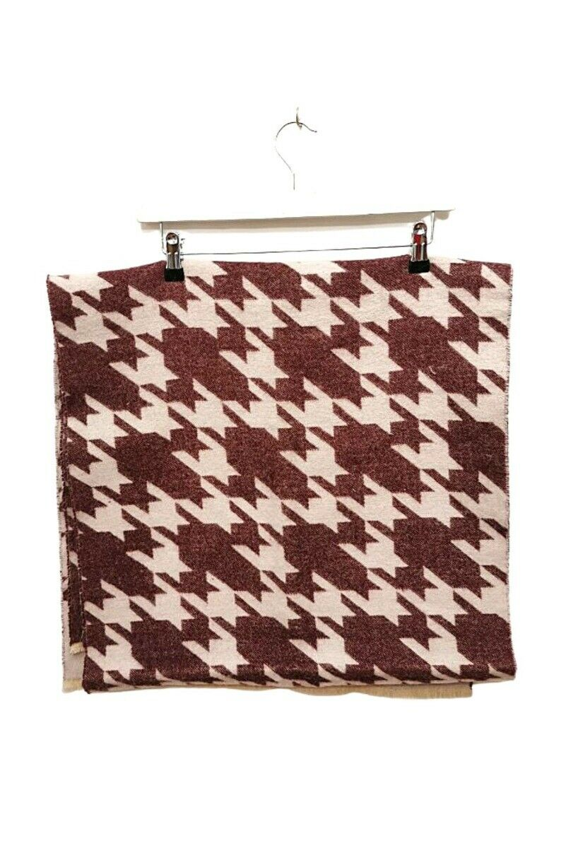 Burgundy Houndstooth Pattern Scarf - One Size