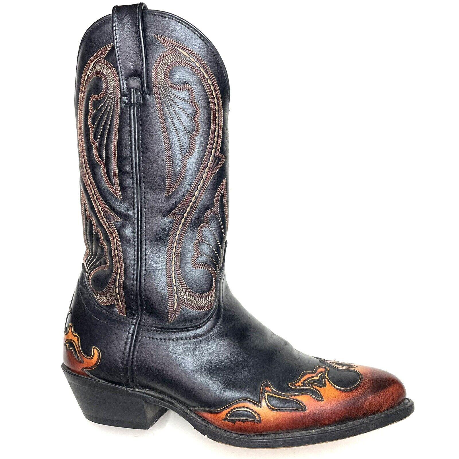 Laredo Mens Cowboy Western Boots Mignon Flames Fire Wingtip Black 2754 Sz 9.5 D