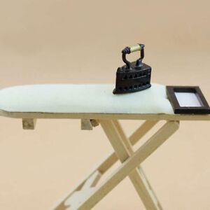 1-12-scale-Doll-House-Miniature-Iron-With-Ironing-Board-set-Pretend-Play-B-Mw