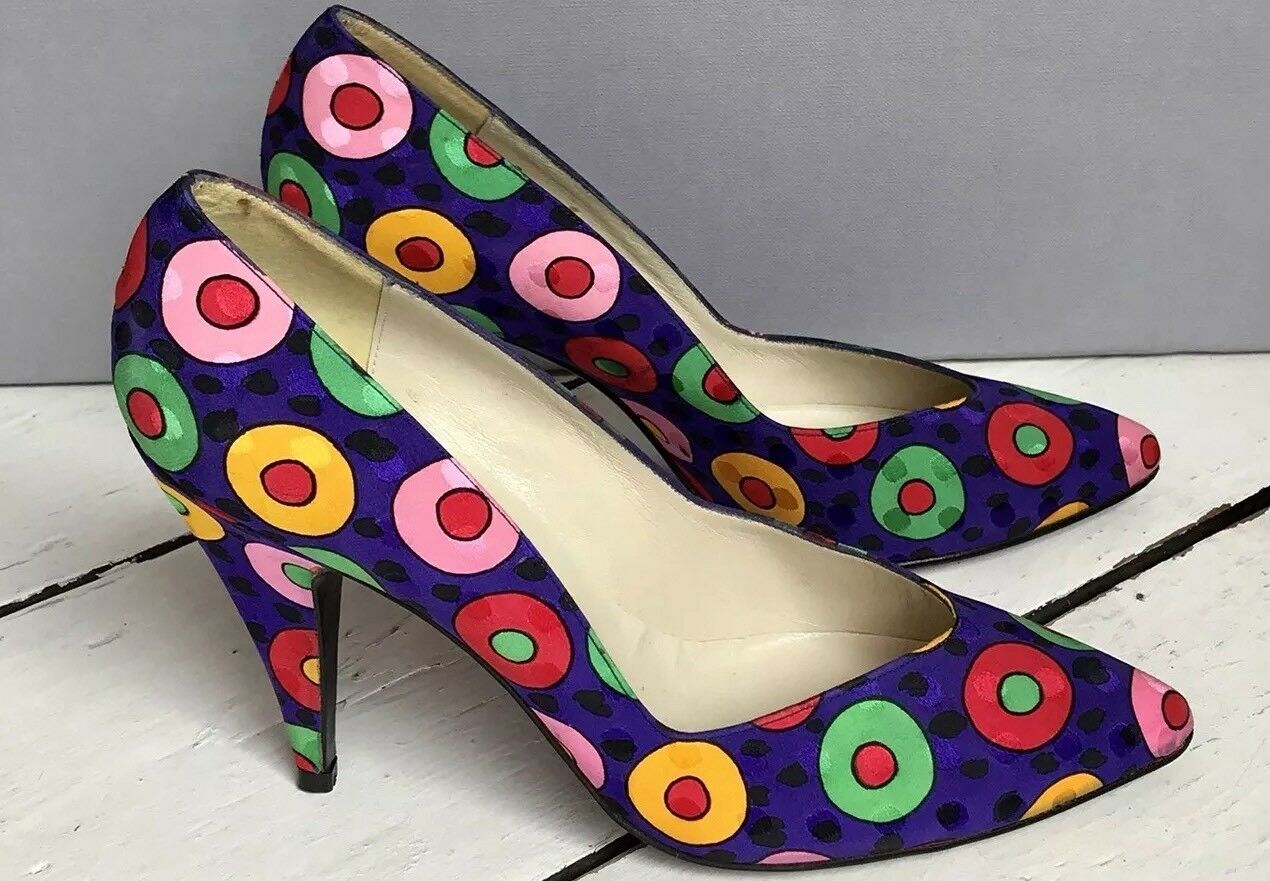 Vintage années 1980 soie Multi Couleur Polka Dot Stiletto Cour Chaussures-Stuart Weitzman