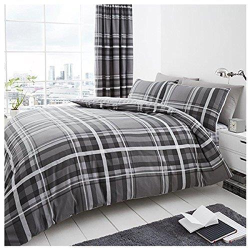 DUVET COVER SET Quilt Pillow Case Bedding Newton Tartan Check Hartley Denim