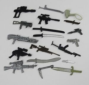 random-lot-OF-20-GI-Joe-Cobra-3-75-034-figure-039-s-Accessories-Guns-sword-Weapons-J