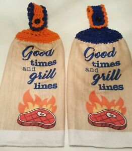 2 Double Sided Crocheted Top BBQ Good Times And Grill Lines Dish Hanging Towels