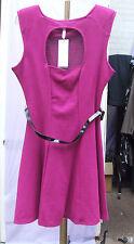 Lipsy BNWT UK 12 Fabulous Cerise Pink Sleeveless Open Back Short Dress with Belt