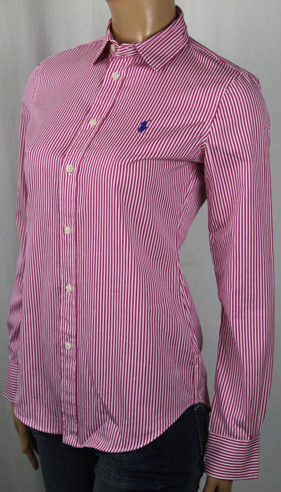 Ralph Lauren Rosa Streifen Modern Geschnitten Blause Hemd Nwt
