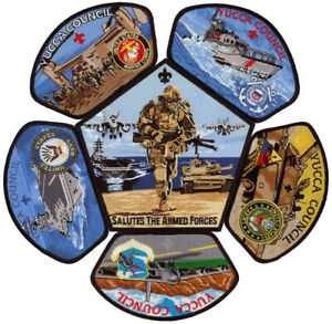 Yucca-Council-Military-Marines-Navy-Air-Force-Army-Uniform-CSP-Patch-Badge-Set