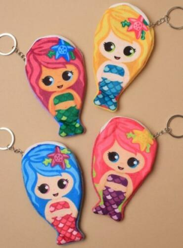 MERMAID FABRIC OR PLASTIC KEYRING IN 9 DESIGNS OR ZIP PURSE WITH LINING