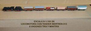 LOCOMOTORA-IBERTREN-013-6-VAGONES-TRIX-Y-MINITRIX-ESCALA-1-160-TRENES-ESPANA