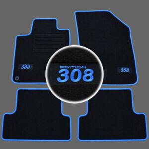 4 Tapis Sol Moquette Logo Bleu Sur Mesure Peugeot 308 Ii Active