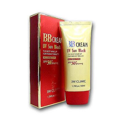3W CLINIC UV Sun Block BB Cream SPF50 PA+++ UVA UVB Screen blam 50 ml