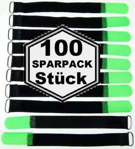 100x Kabelklett Klettband 200 x 20mm neon grün Klett Kabelbinder Klettb?nder ?se