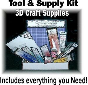 Complete Supply and Tool Kit for Paper Tole 3d Art & Card Making Crafts 13 Items