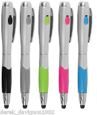 (5) 3-in-1 Capacitive Touch Screen Stylus +  Pen + LED light for iPads