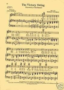 /'VICTORY SWING/' Va. Vtg UNIVERSITY OF RICHMOND song