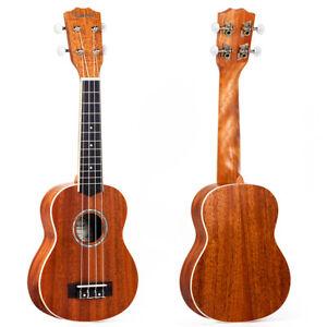 Ukelele-Soprano-21-pulgadas-Hawaii-Guitarra-Mahogany-Top-Abulon-Soundhole