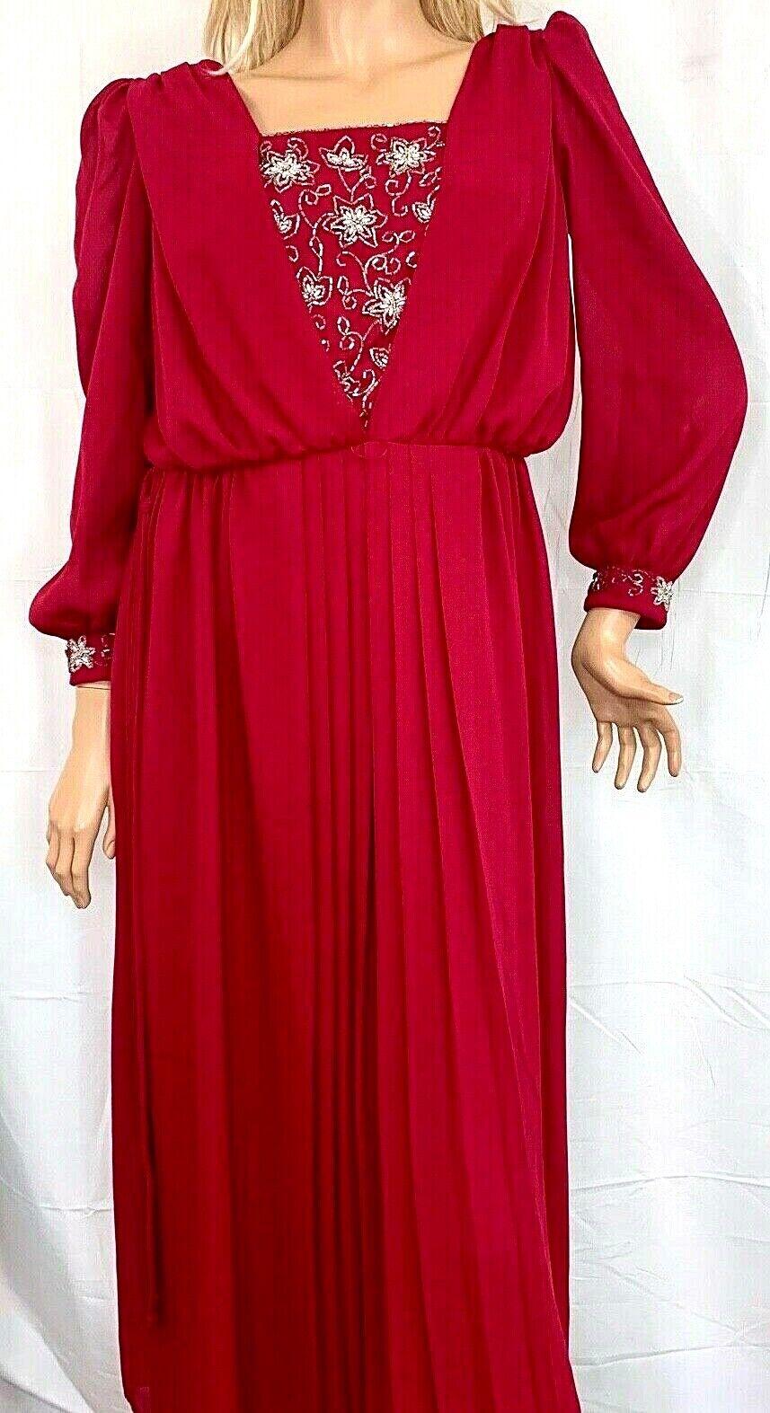 Vtg Womens Evening Gown Dress Maroon Red Chiffon Maxi Beaded Tie Waist Union Tag