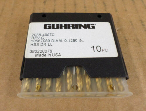 "Lot of 10 Guhring 2038-4097C Rev C 0.1280/"" HSS Drills"