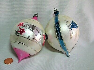 2 Vintage Large Christmas Ornament Tear Drop Shaped Hand Painted Pink Blue Mica Ebay