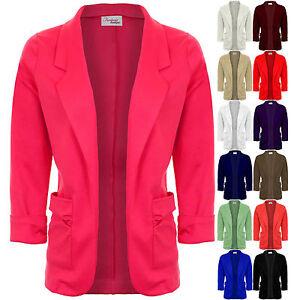 Womens-Open-Front-Turn-Up-Cuff-Ruched-Pocket-Blazer-Ladies-Jacket