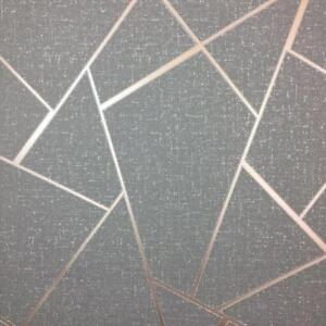 Fine Decor Quartz Apex Geometric Charcoal Amp Rose Gold