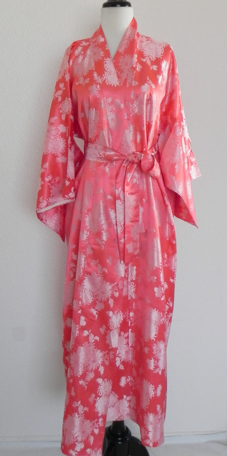 Joli Made in Japan Silk Robe Full Length Peach Tone Belted One Size