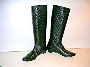 bfca4cd1fa63c Image is loading MANOLO-BLAHNIK-BLACK-QUILTED-NAPA-LEATHER-KNEE-HIGH-