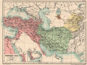 Details about WESTERN ASIA IN 1600 AD. under the Turks & Persians 1902 old  antique map chart