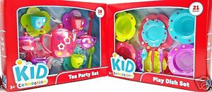 Girls-Tea-Party-Dish-Play-Set-Pink-Purple-Green-Blue-Flowers-Polka-Dots-39pc-New