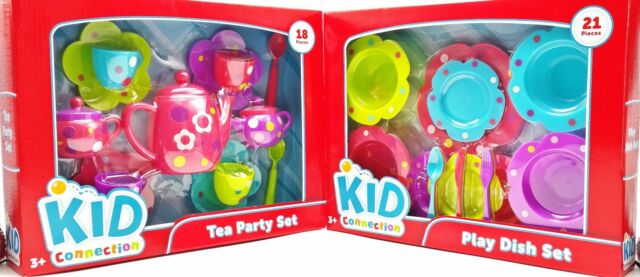 Girls Tea Party Dish Play Set Pink Purple Green Blue Flowers Polka Dots 39pc New