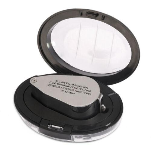 40 x25 LED Lupe Vergrößerungsglas Glas Taschenlupe,2 led licht 1 uv licht