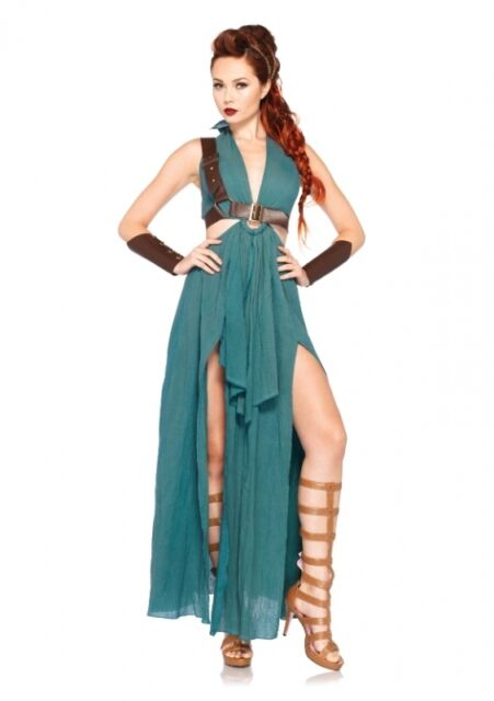 4 Tlg. Kostüm Set Krieger-Maid, grün Leg Avenue Räumungsverkauf Amazone