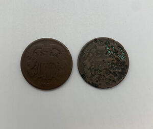 1864 Two Cent Piece - Large Motto Lot Of 2 Civil War Lot #2