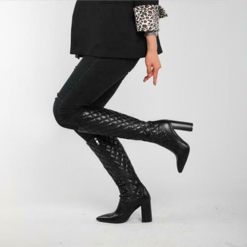 Details about  /Women/'s Fashion PU Leather Quilted Block Heej Knee High Riding Boots Shoes SUNS