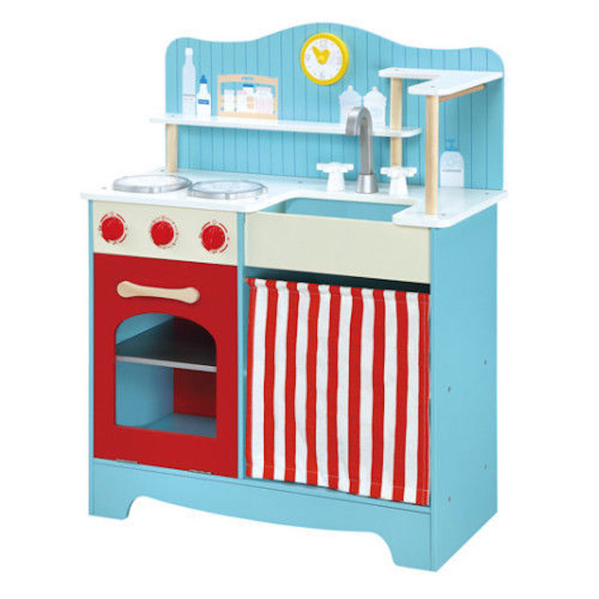 Country Kitchen Child S Wooden Play Set Maxim Stove Sink Blue Red
