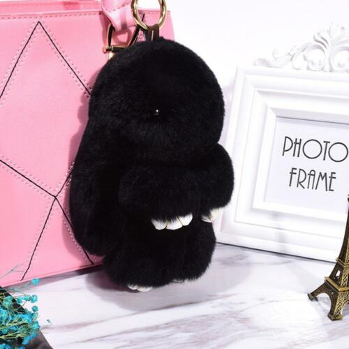 Véritable Fourrure Lapin Fluffy lapin porte-clés Pompon Keychain Lady Sac Pendentif