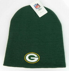 GREEN-BAY-PACKERS-NFL-FOOTBALL-VTG-GREEN-KNIT-UNCUFFED-BEANIE-CAP-HAT-NEW-LOGO