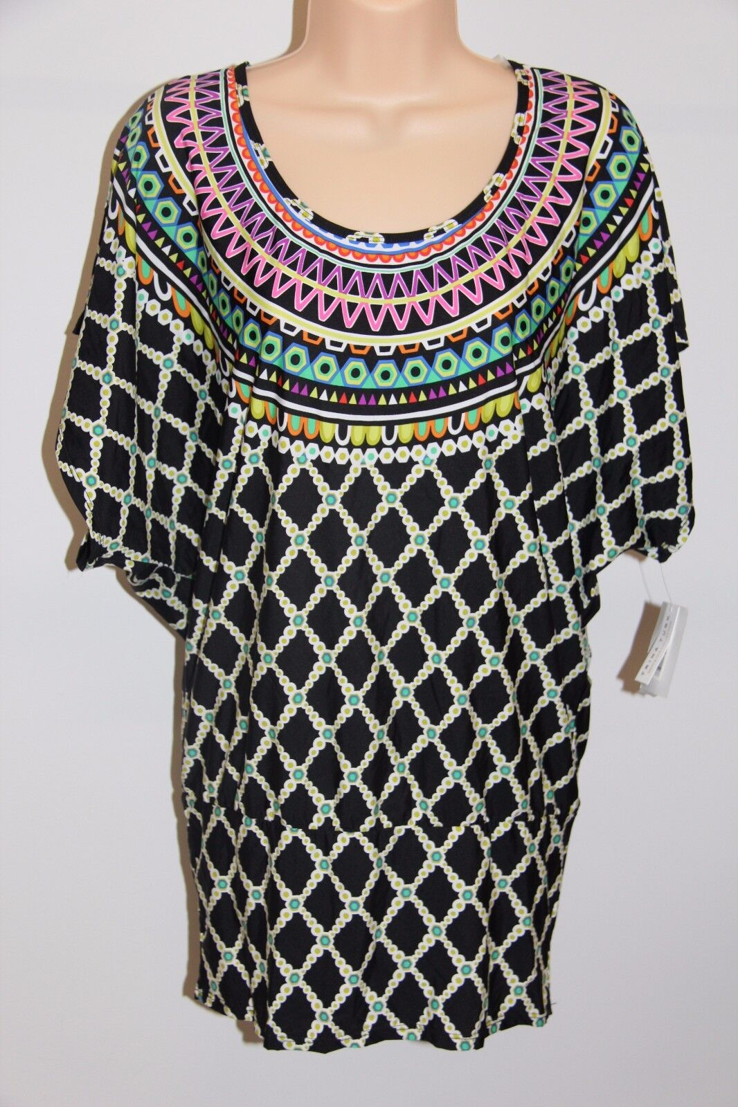 NWT Trina Turk Swimsuit Bikini Cover Up Dress Tunic Size S Multi BLK color