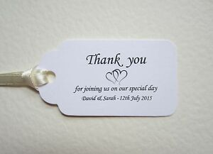 Personalised Wedding Thank You Place Cards White Tags Table Guest