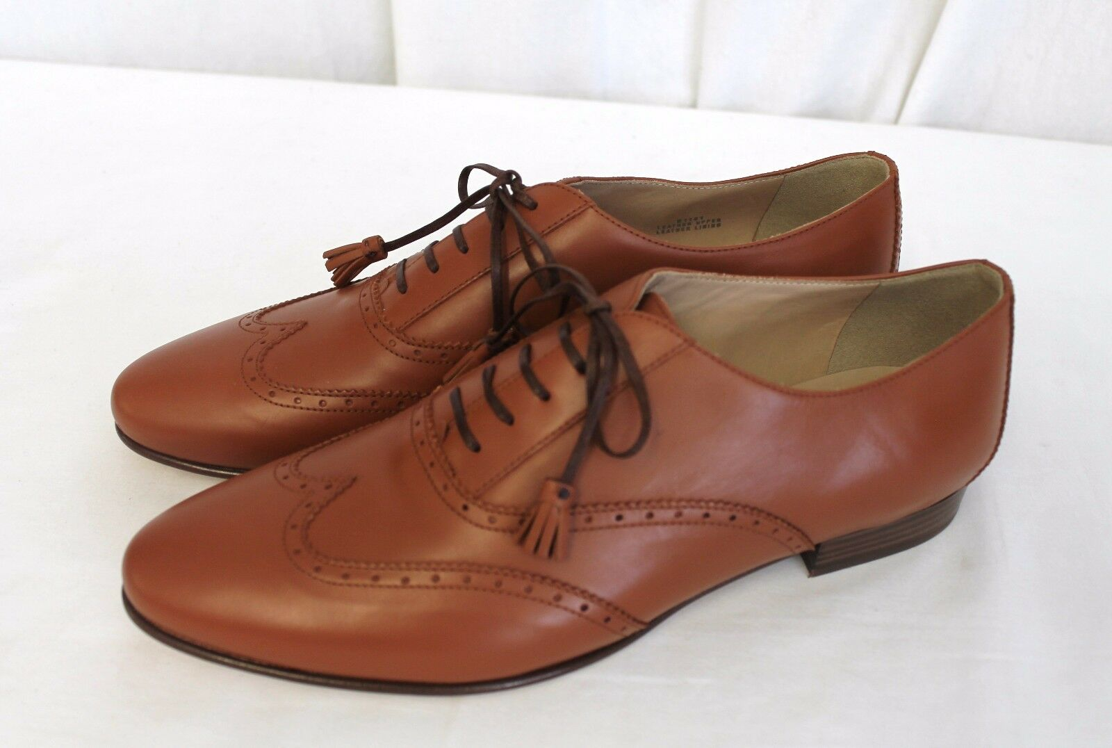J CREW TASSEL OXFORD SHOES LOAFERS LEATHER WARM COGNAC BROWN  SIZE 10 $268 ITALY