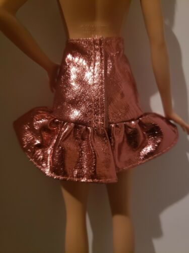 2018 METALLIC COPPER COLORED skirt  for Barbie doll