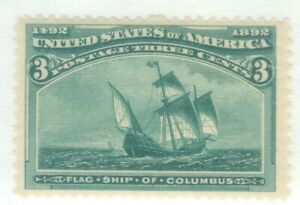 US-232 FLAG SHIP OF COLUMBUS 3c ISSUED 1893 MNH