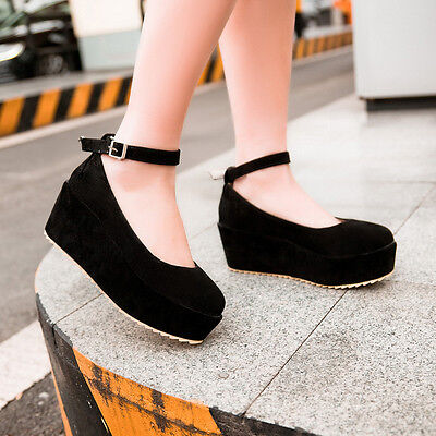 New Girl's Fashion Ankle Strap Goth Wedge Creeper Platform Round Toe Heels Shoes