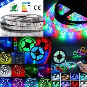 RGB-LED-Streifen-5m-10m-20m-5050-3528-Strip-e-Band-Lichtleiste-Controller-Trafo
