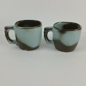 3760569ac9 Set of 2 Frankoma Brown Blue Stoneware Square Coffee Mugs Cups | eBay